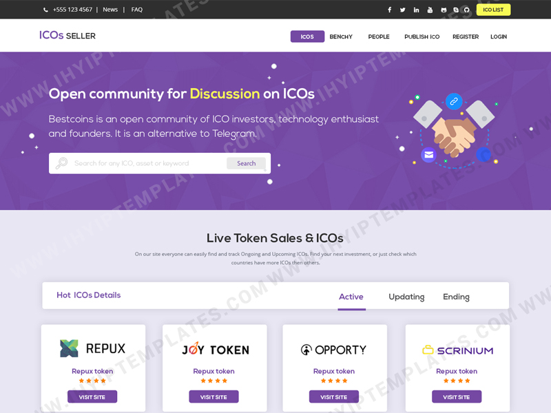 ICO Lister Website Templates.